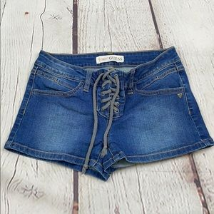 Guess denim short shorts size 24 tied lace front